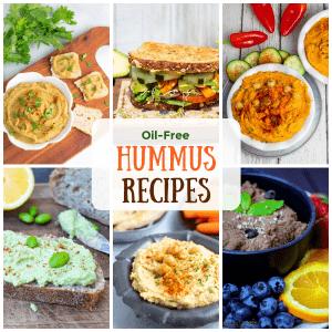 oil free vegan hummus recipe photo collage