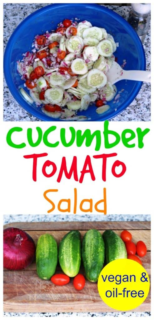 cucumber tomato salad in blue bowl