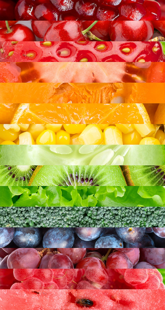collage of different fruits layered