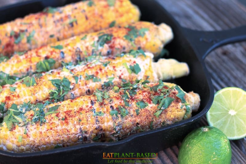 elote in cast iron pan