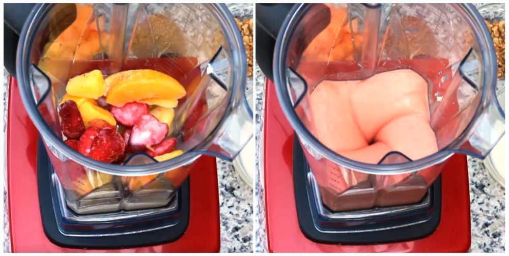 smoothie bowl ingredients in blender before and after blending