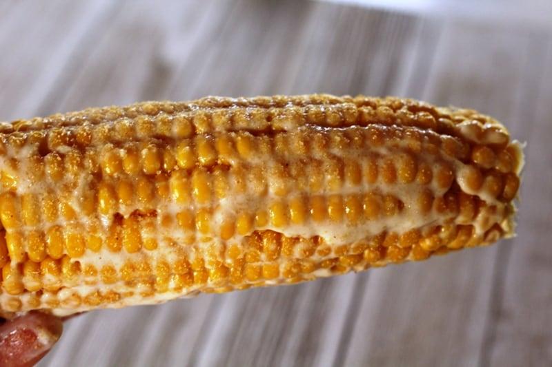 vegan mayo on fresh corn on the cob