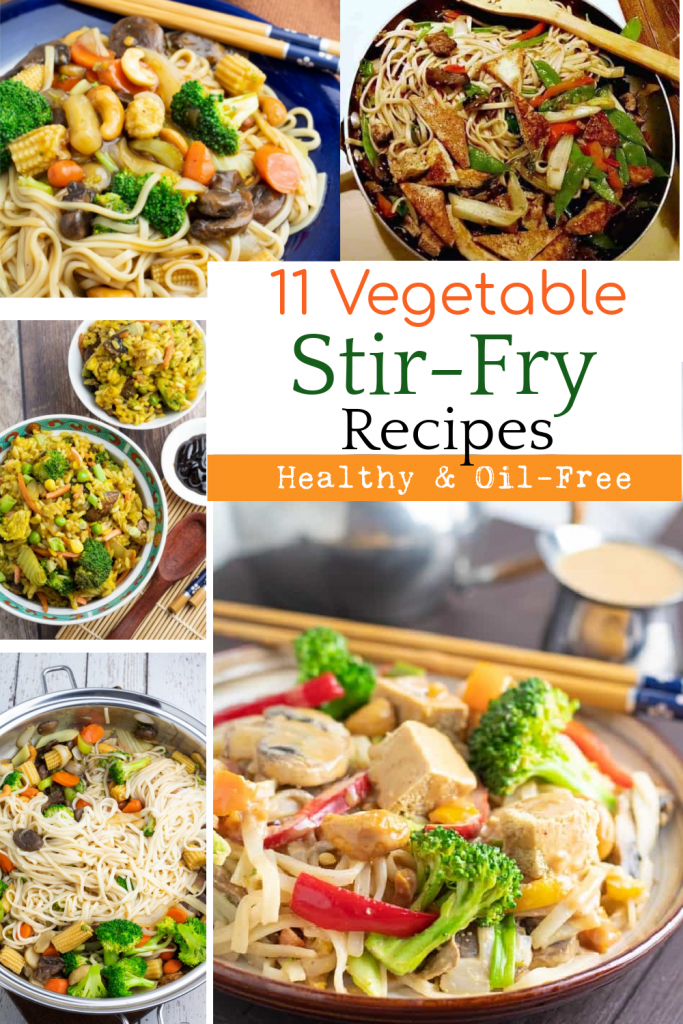 photo collage of stir fry dishes for pinterest