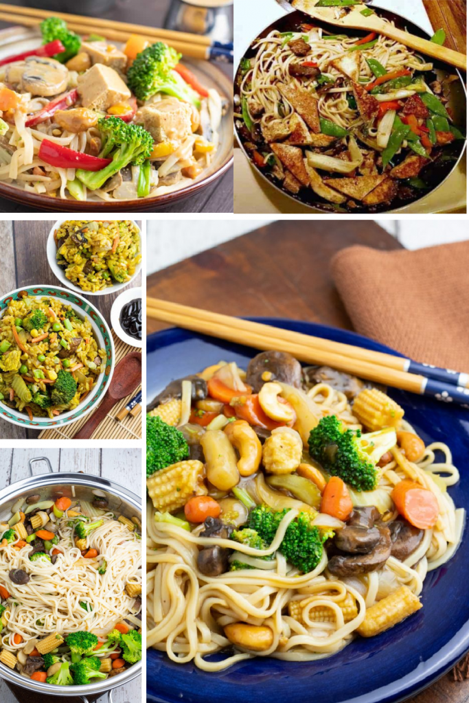photo collage of vegetable stir fries