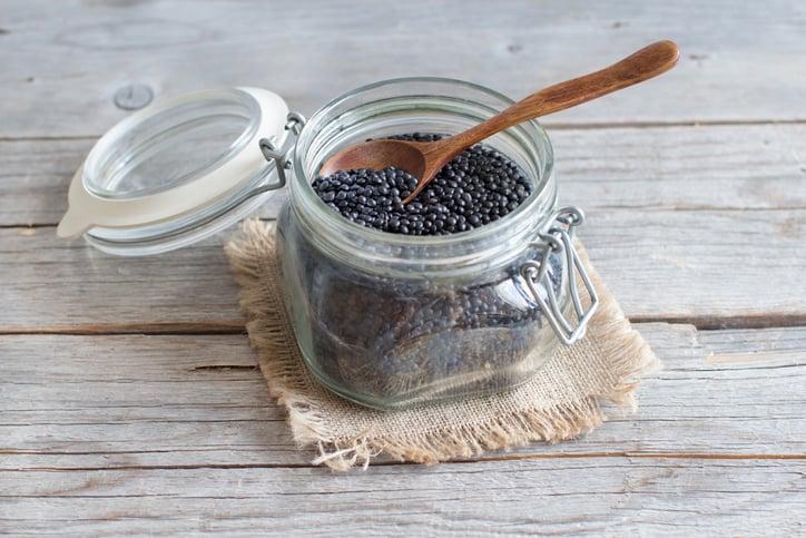 beluga lentils in a clear jar