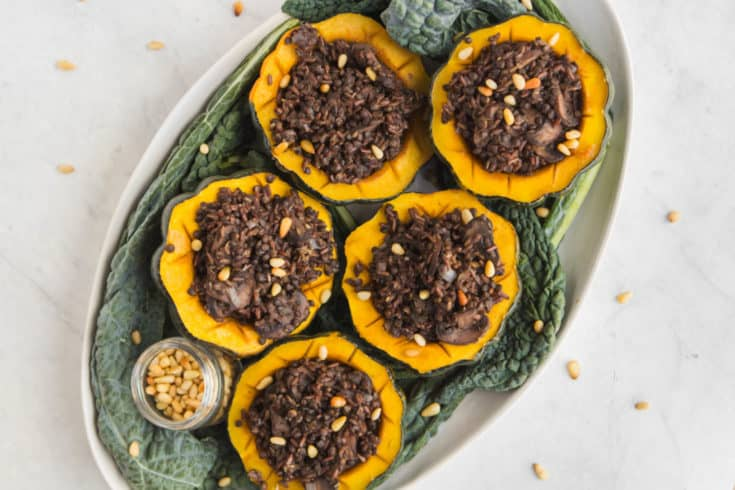 Maple Roasted Acorn Squash with Rice & Lentil Stuffing