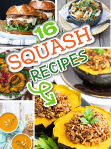 photo collage of vegan squash recipes