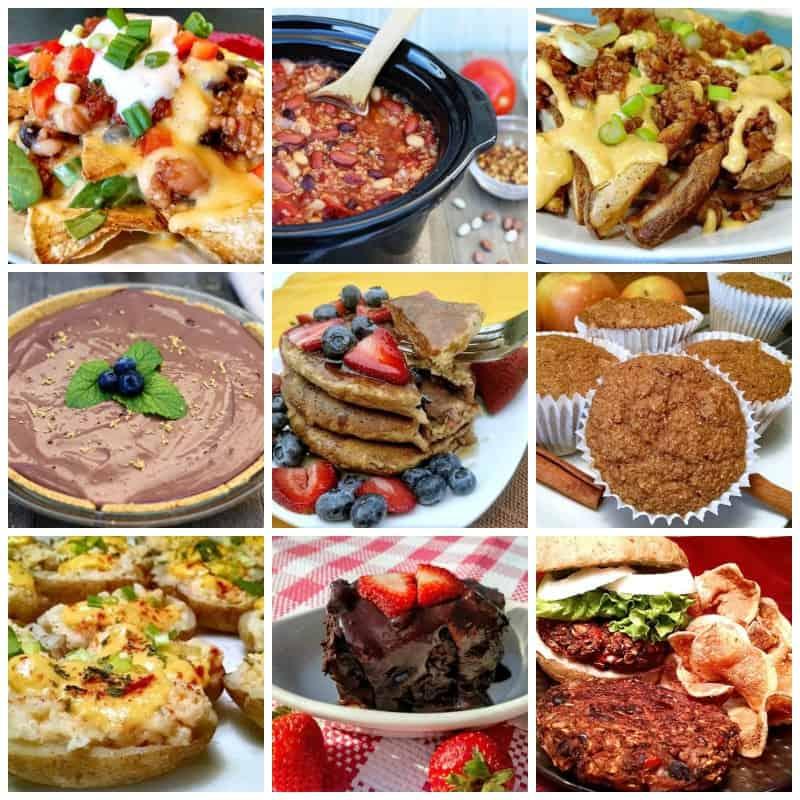 photo collage of vegan recipes