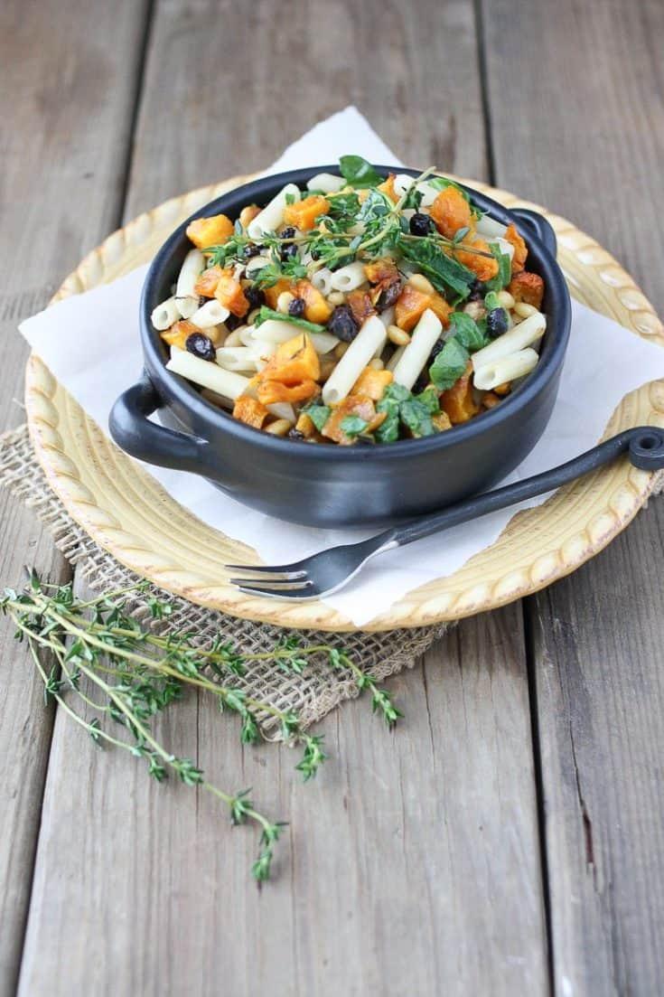 Roasted Butternut Squash Spinach Pasta- Veggies Don't Bite