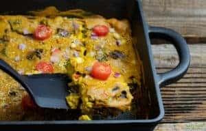 vegan breakfast caserole in cast iron dish