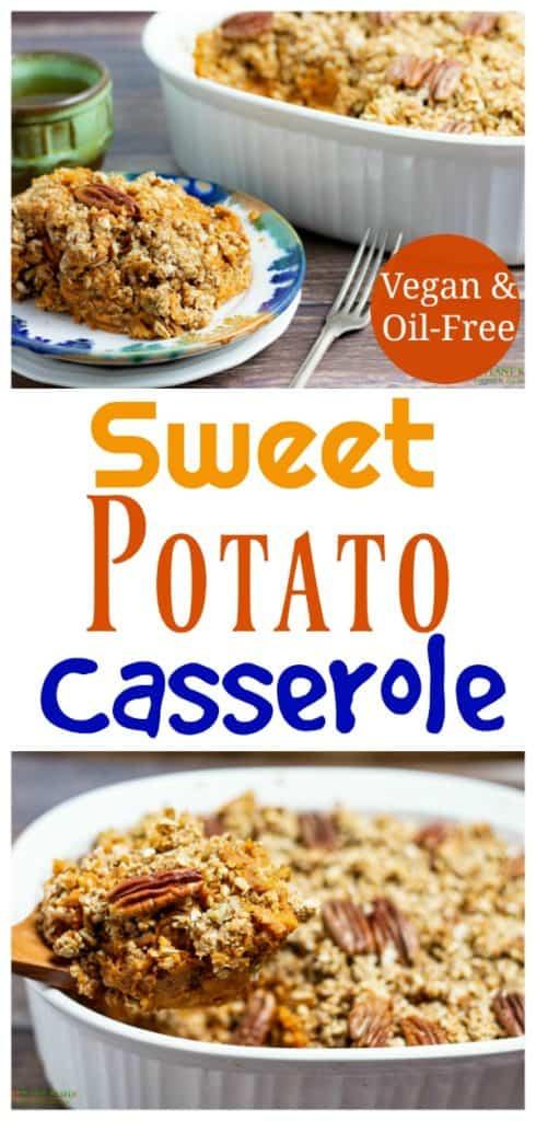 vegan sweet potato casserole photo collage for pinterest