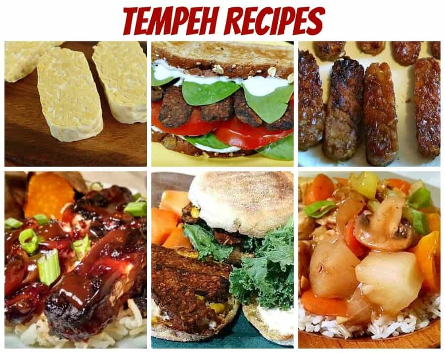 tempeh recipe photo collage for pinterest