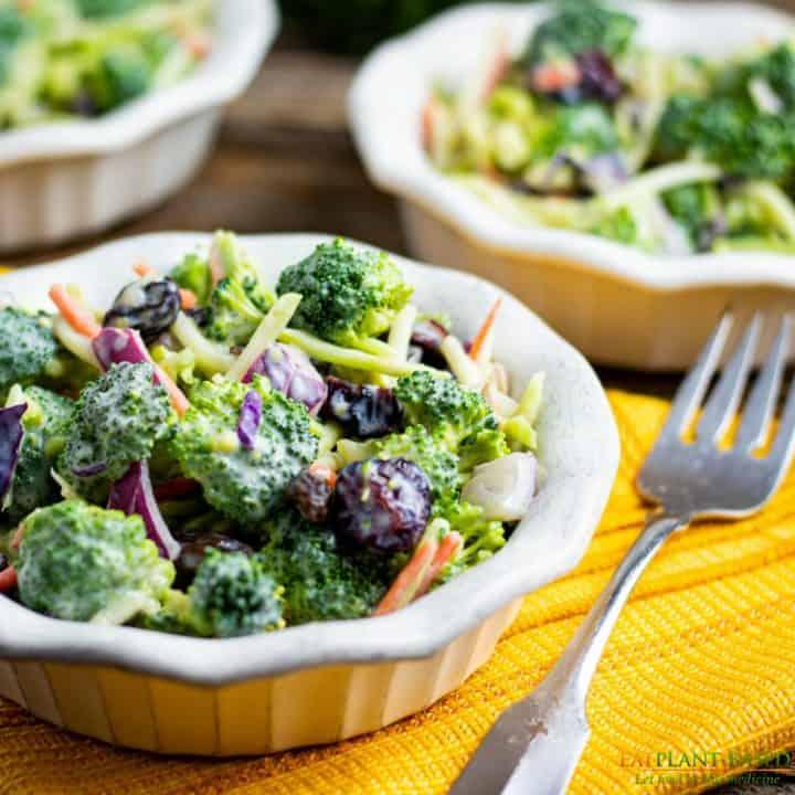 Vegan-Broccoli-Salad in white bowl with fork