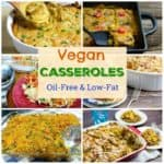vegan casseroles photo collage for pinterest with title