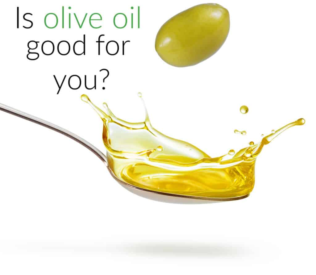 green olive falling into spoonful of oil with title