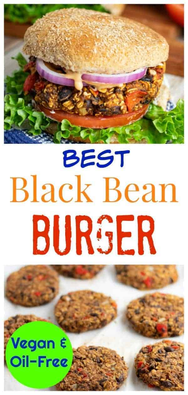 This Best Black Bean Burger vegan recipe gets some of the highest reviews on this website. People love that the patties are firm and can even be cooked on the grill without falling through. #blackbeanburger #veganburger #nooil