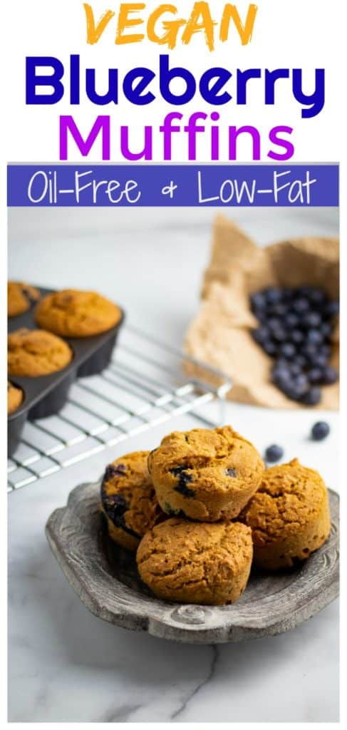vegan blueberry muffins pinterest photo collage with title