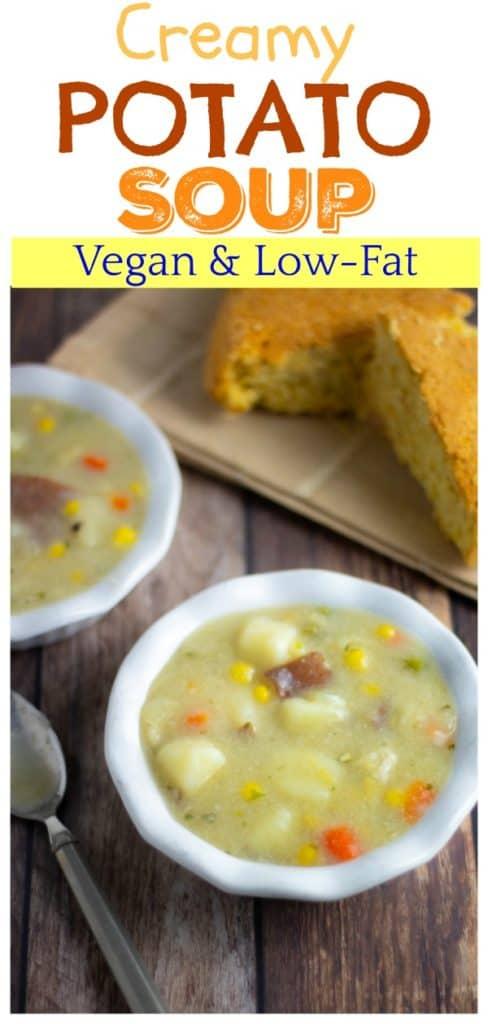 vegan potato soup pinterest photo with title