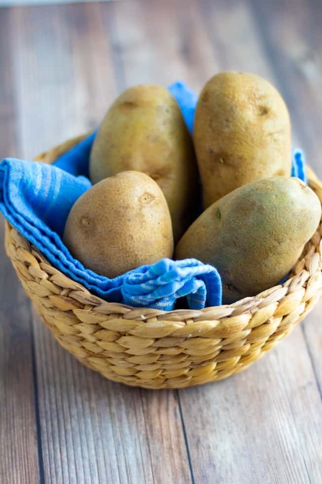 russett potatoes in basket