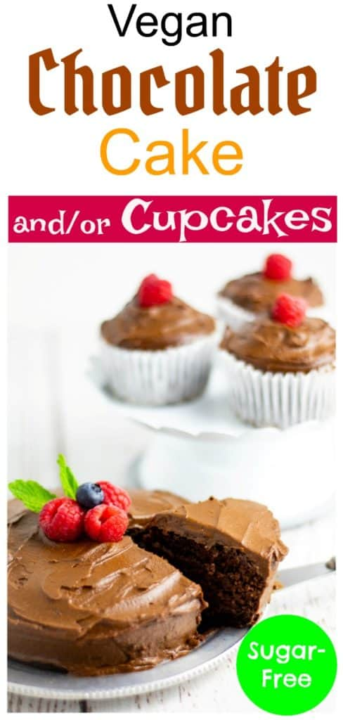 chocolate cake and cupcakes pinterest photo with title