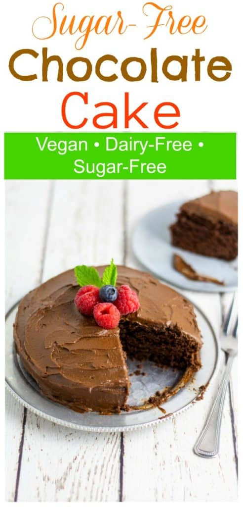 vegan chocolate birthday cake on white wooden table pinterest photo with title