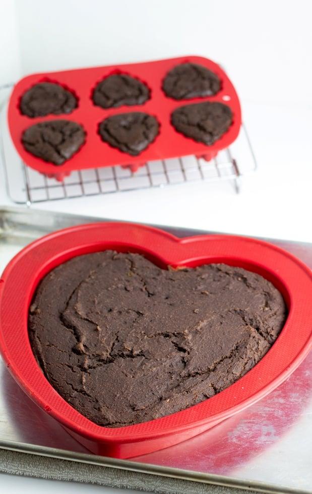 sugar free chocolate heart shaped cake in silicone pan