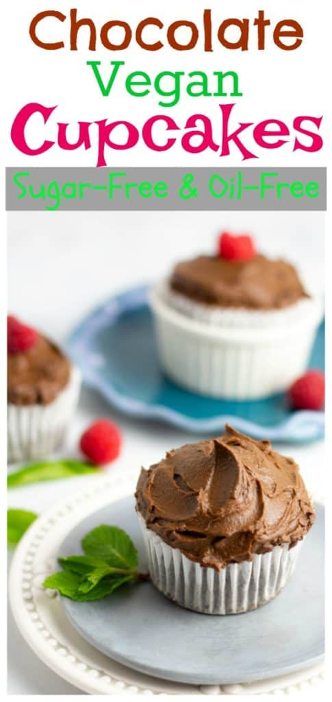vegan chocolate cupcakes on plates for pinterest with title