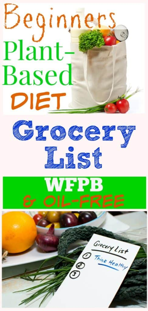 Grocery shopping bag with groceries pinterest photo collage with title