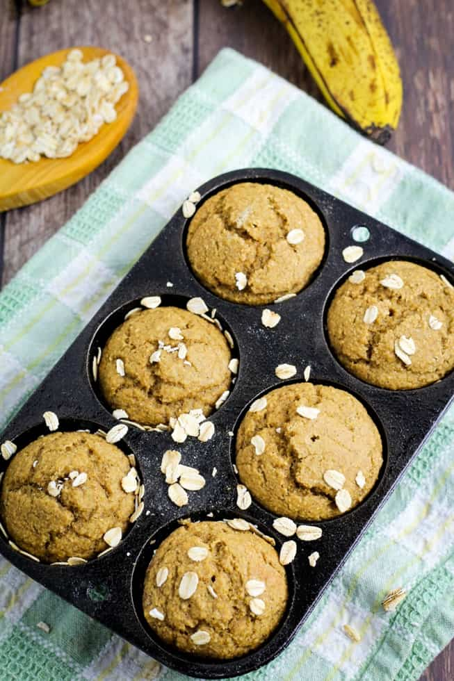 vegan banana oatmeal muffins in cast iron pan