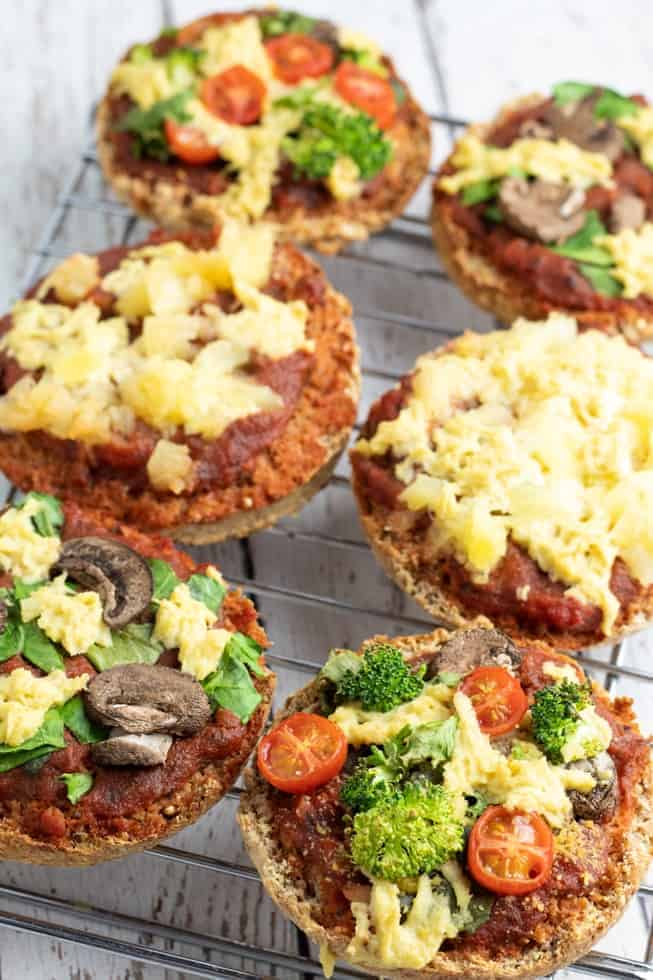 english muffin pizzas on cooling rack