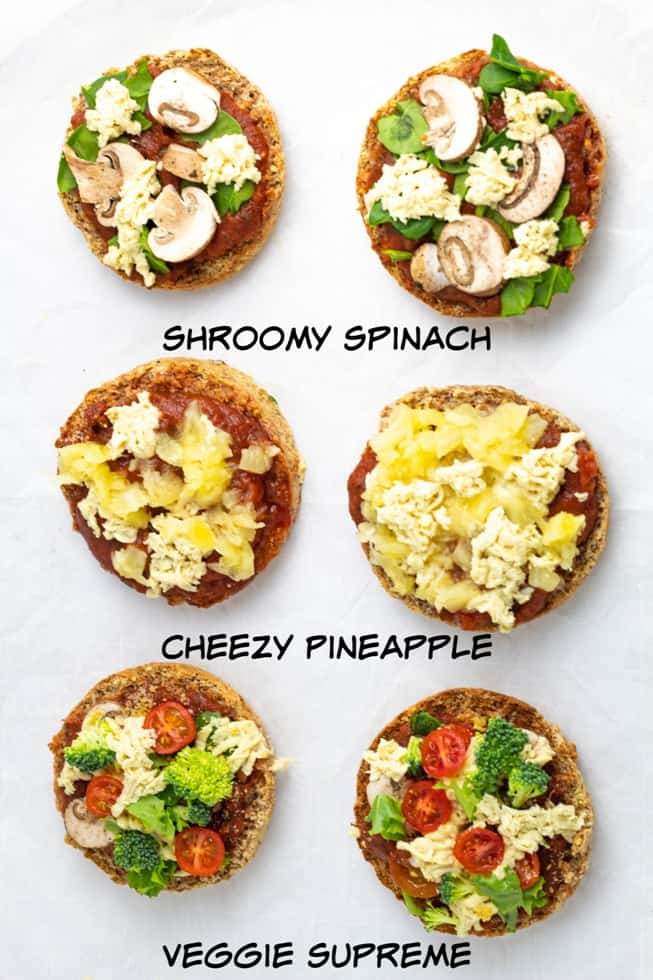 6 English Muffin Pizzas on white background with labels