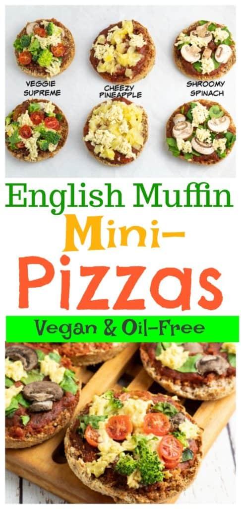 Veggie Muffin pizza pinterest collage