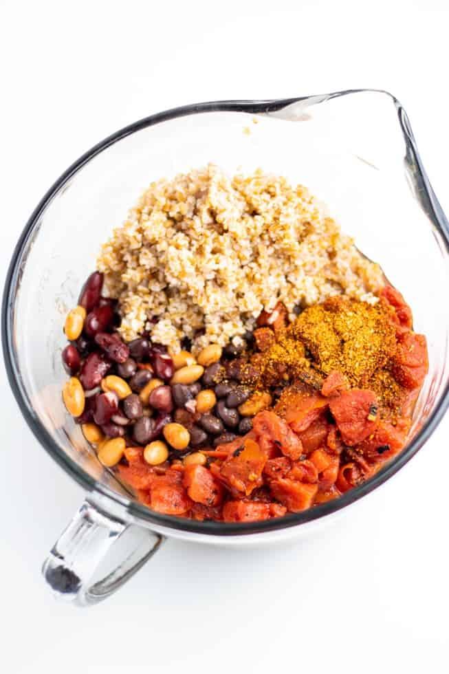 beans, bulgur, tomatoes in bowl