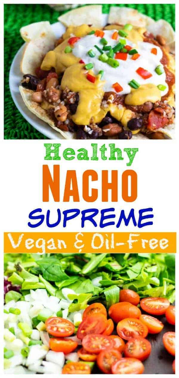 These Vegan Nachos happen in our kitchen VERY regularly–I'm talking at least every other every couple of weeks! They are so delicious, it's hard to believe that they don't have all the artery-clogging fat and cholesterol that the traditional ones have. #vegannachos #vegannachosupreme #veganpartyfood