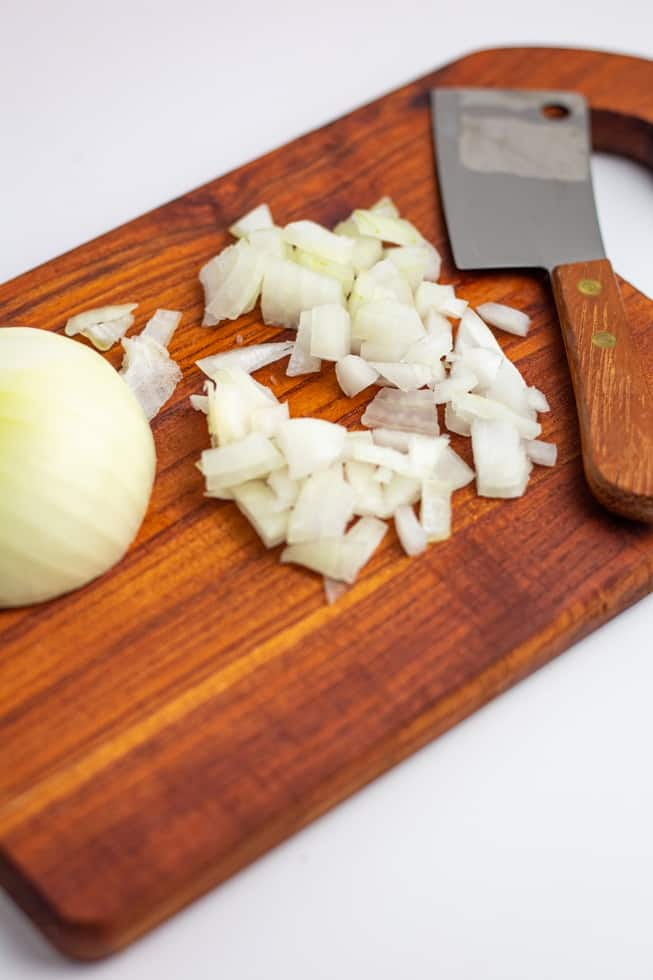 diced onions on cutting board