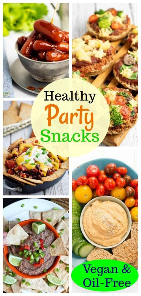vegan party snack collage for pinterest