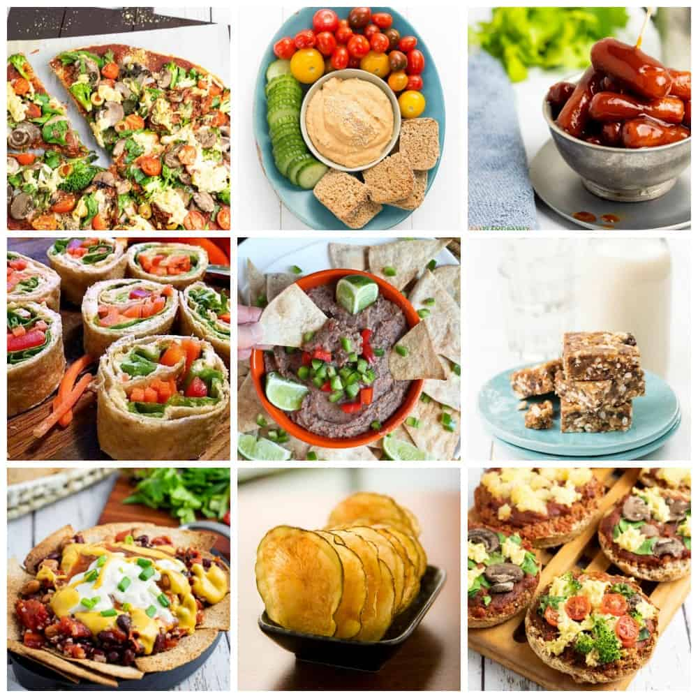healthy party snack collage for pinterest