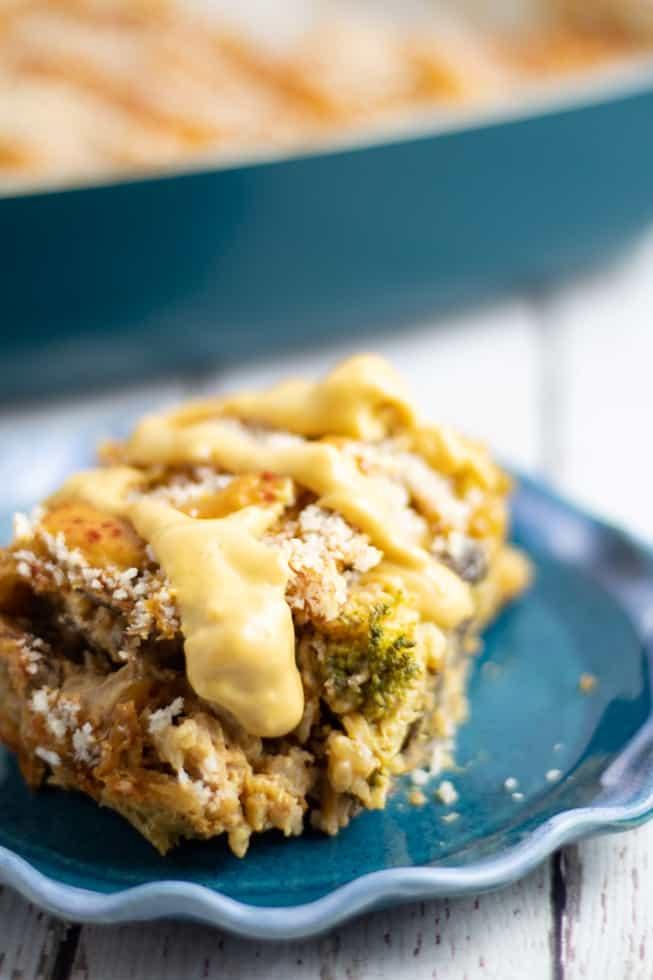 vegetable bake casserole on blue plate