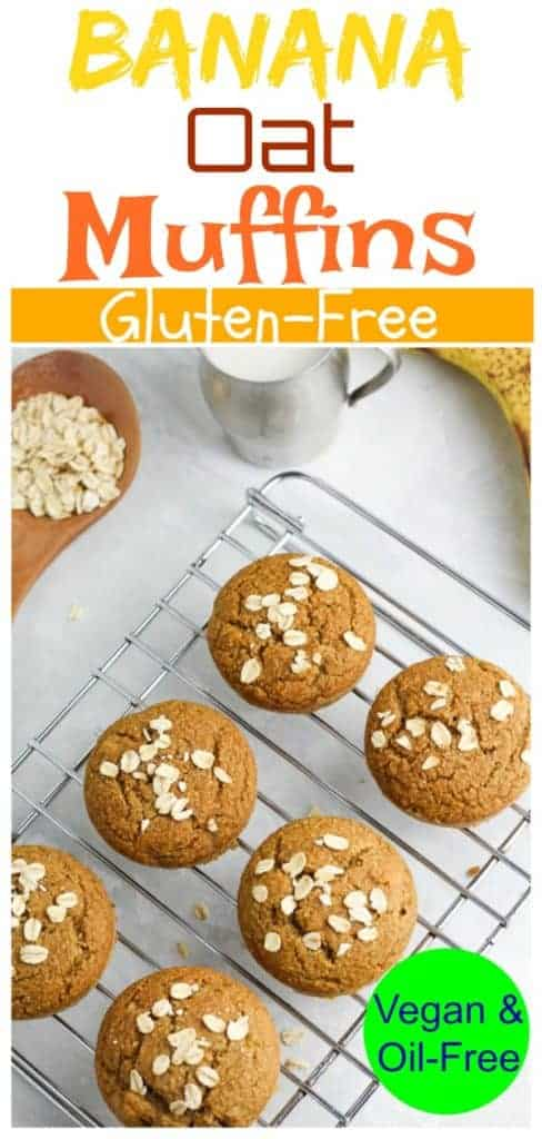 vegan banana oat muffins pinterest photo collage with title