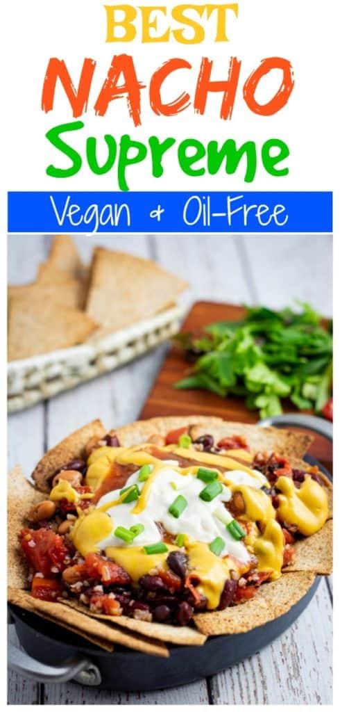 vegan nachos for pinterest with title