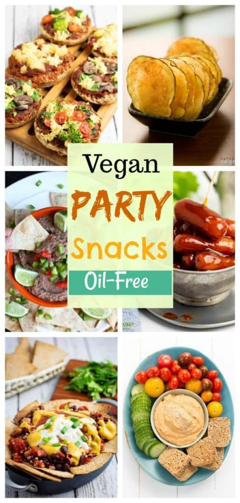 vegan healthy party snack collage for pinterest