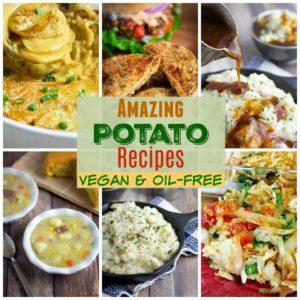 vegan potato recipes collage for pinterest