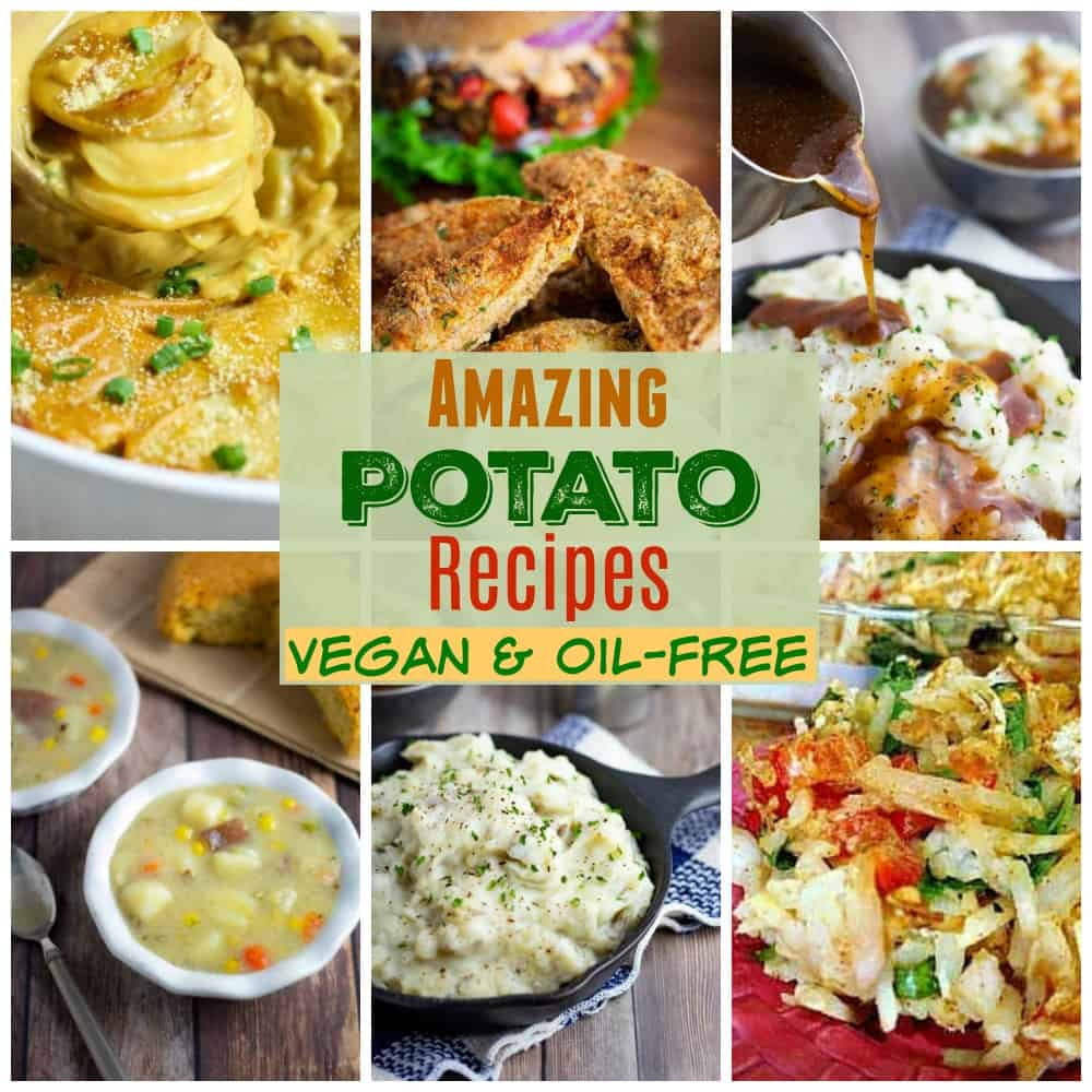 vegan potato recipes collage for pinterest