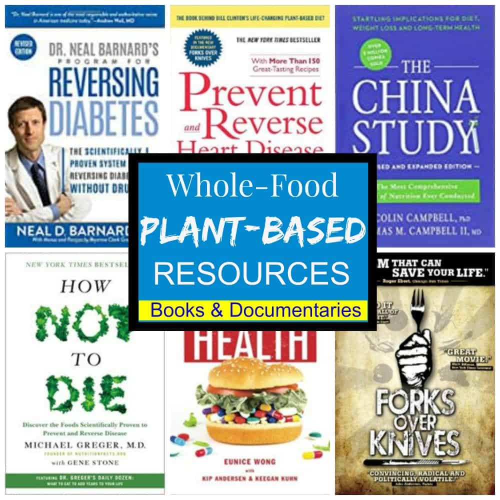 pinterest photo collage of wfpb books and resources