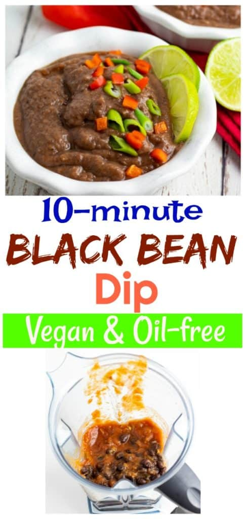black bean dip pinterest collage with title