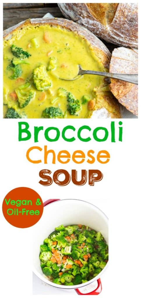 vegan broccoli cheese soup photo collage for pinterest