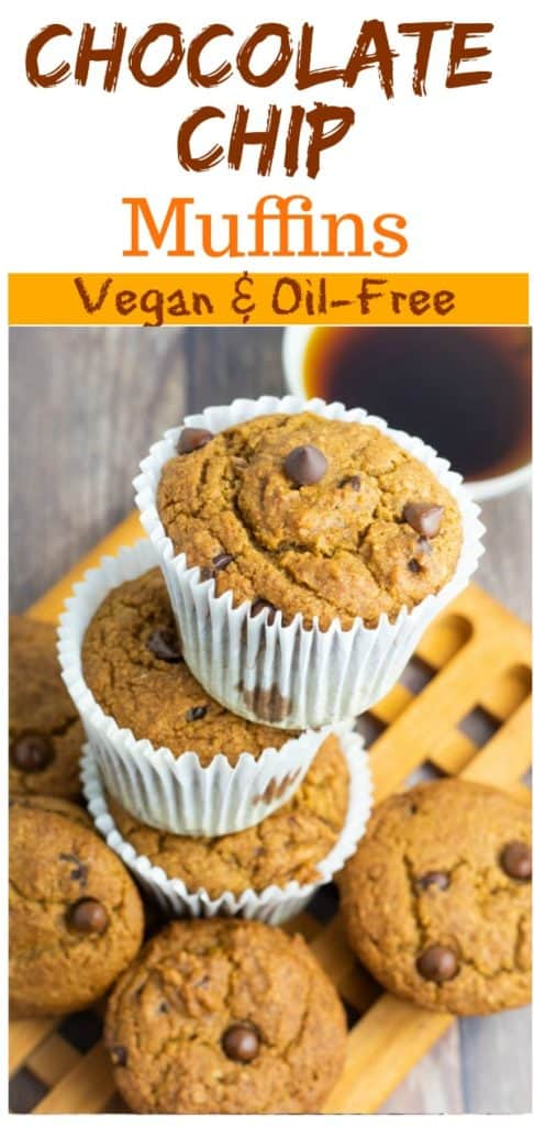 vegan chocolate chip muffins pinterest collage with title