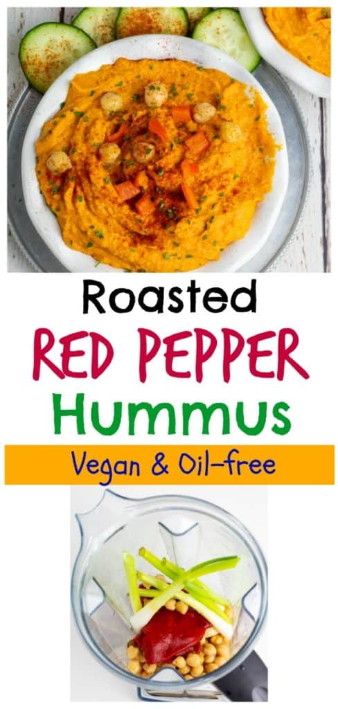 roasted red pepper hummus pinterest collage with title