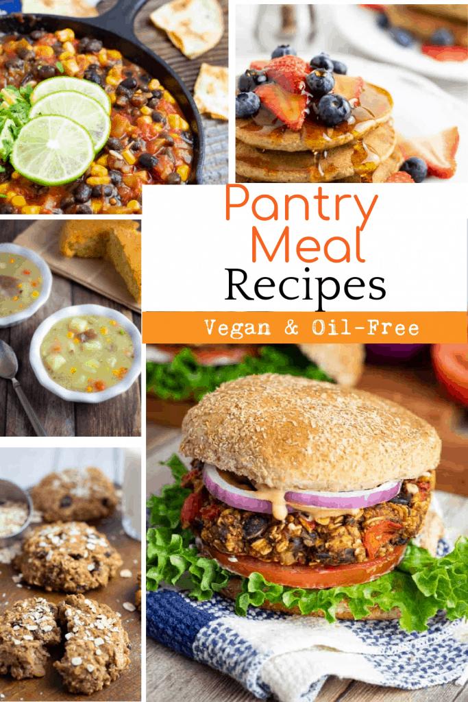 vegan pantry meal recipes collage