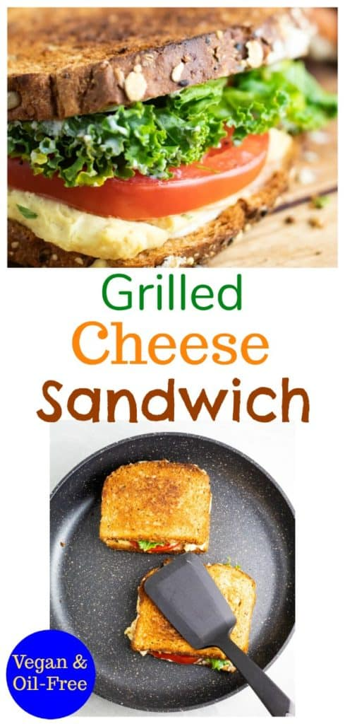 vegan grill cheese pinterest collage with title